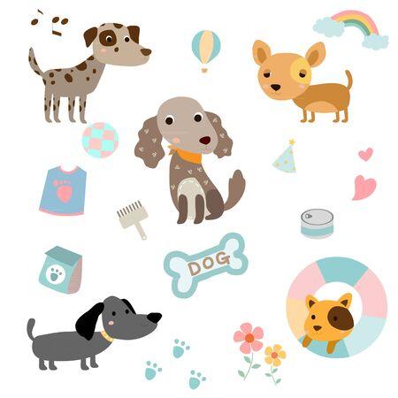 Set of cute dog