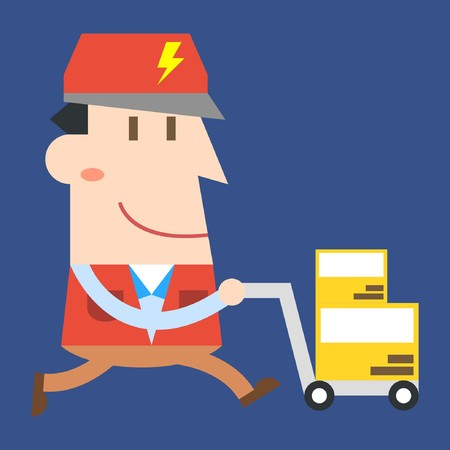 Delivery man working on blue background Ilustrace