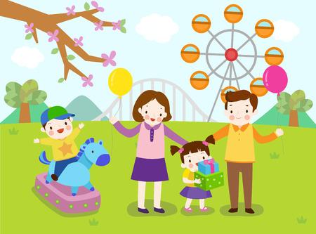 Family in amusement park Illustration