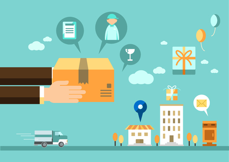 Parcel delivery process infographic