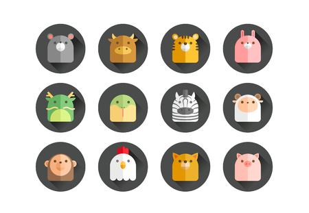 Set van 12 Chinese dierenriemdieren Stock Illustratie