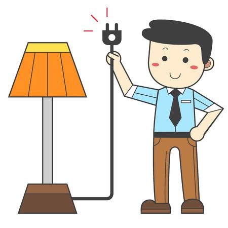 Man zieht den Stecker - Energie sparen Standard-Bild - 90364086