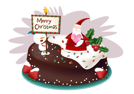 Santa and deer with Christmas cake Stock Illustratie