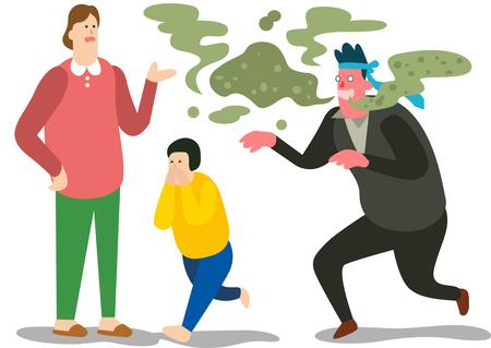 Boy hate father bad breath Ilustrace