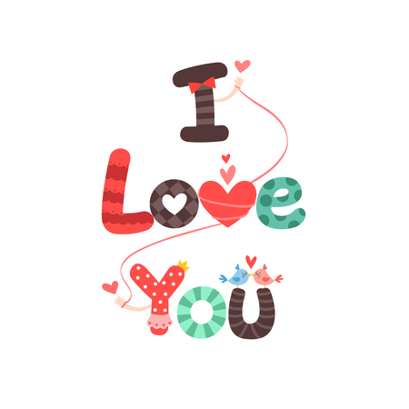 I love you design word 일러스트