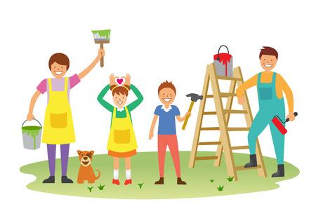Glückliche Familie Malerei Standard-Bild - 90364355