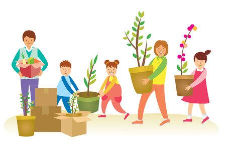Happy Family carrying planter Иллюстрация
