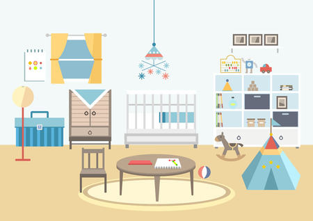 Baby room with furniture Illustration