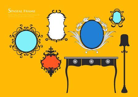 Satz von verschiedenen Spiegel verzierten Jahrgang Standard-Bild - 90365816