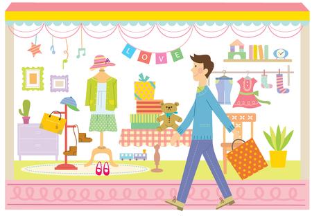 Man walking in front of a boutique Ilustração