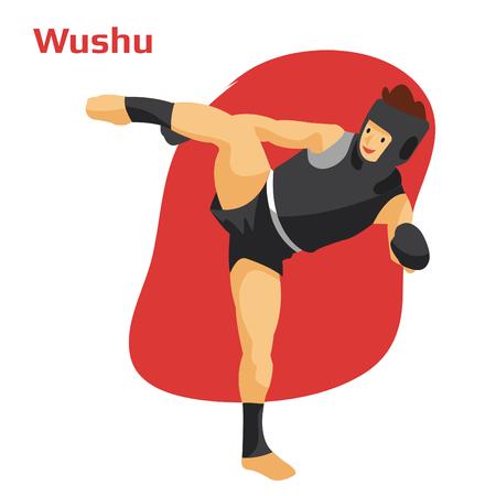 Athlete training wushu