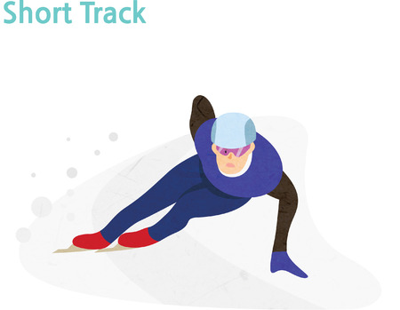 Short track athlete during competition race Vectores