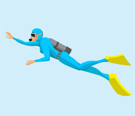 Man scuba diving flat design