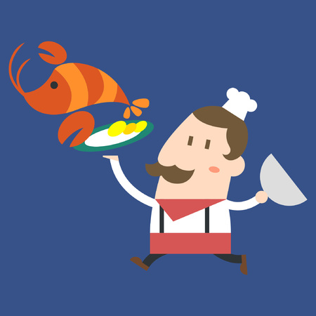 Chef with food on blue background Illustration