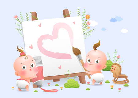 Cute babies drawing picture fairytale Stok Fotoğraf - 90370078