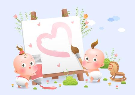 Cute babies drawing picture fairytale Çizim