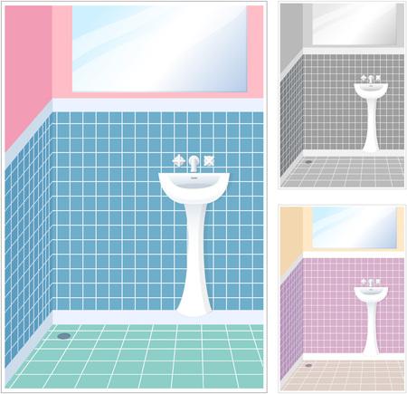 Various color of bathroom Çizim