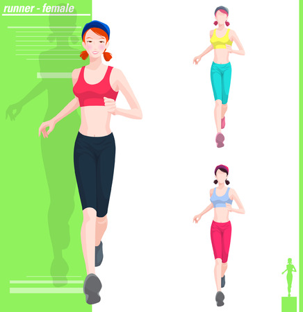 Various color of female runner
