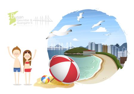 Tour attraction - Busan Haeundae and Guangahn-li Illustration