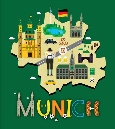 Munich map with tourist attraction