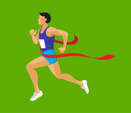 Man running at final race line flat design