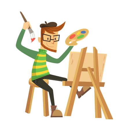 Artist painting with brush Stock Illustratie