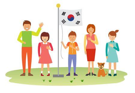 Glückliche Familie heben die koreanische Flagge Standard-Bild - 90412853