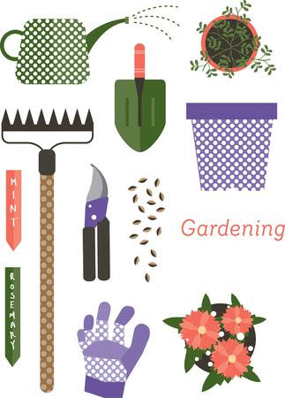 Set tuinartikelen Stock Illustratie