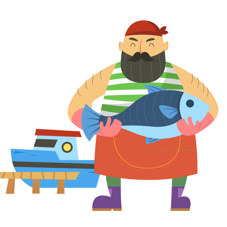 Bearded fisherman with fish