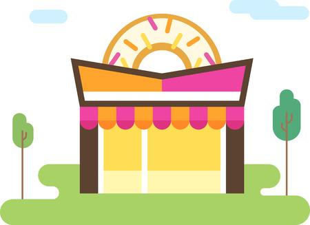 Doughnut store flat icon