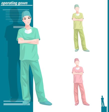 Various color of doctor in operating gown