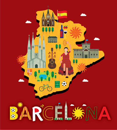 Barcelona map with tourist attraction
