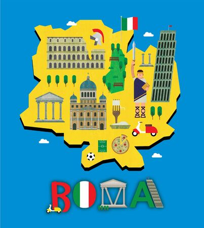 Roma map with tourist attraction