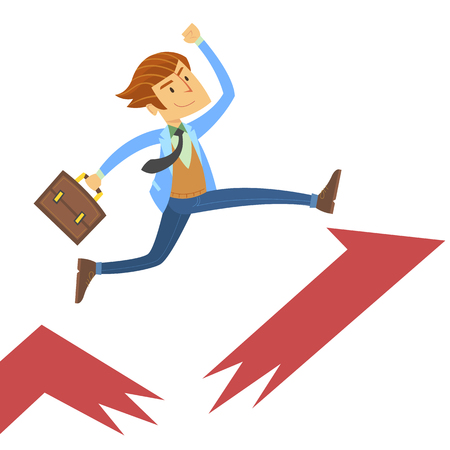 Man going up with arrow graph