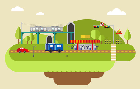 Transportation with infographic elements Illustration