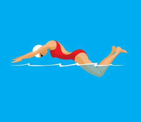 Woman swimming in pool flat design  イラスト・ベクター素材