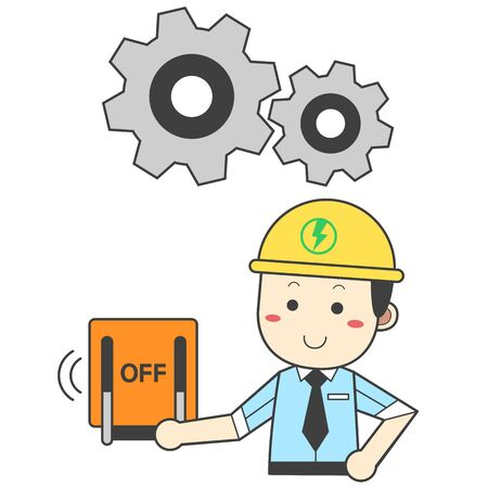 Engineer turning off the device power