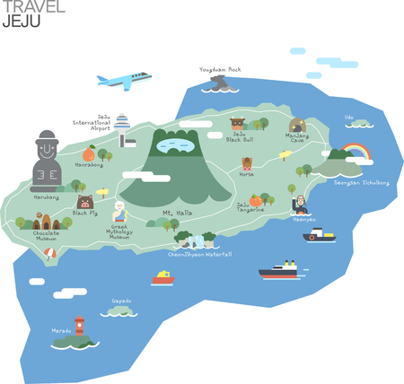 Map of Korea Jeju with tour attraction Illustration