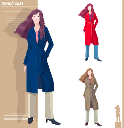 Various color of woman in trench coat Illustration