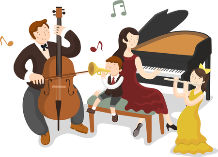 Happy family playing music instrument Иллюстрация