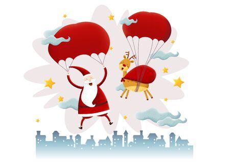 Santa and deer with parachute