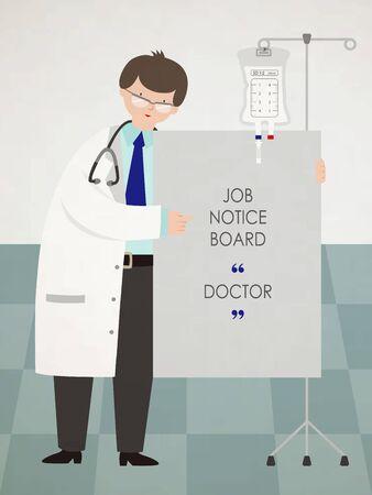 Doctor holding job notice board