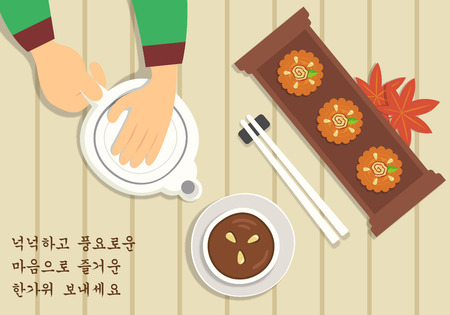 Chuseok greeting card with refreshment