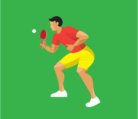 Man playing ping-pong flat design