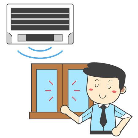 Mann , der das Fenster - Energieeinsparung verwendet Standard-Bild - 90442732