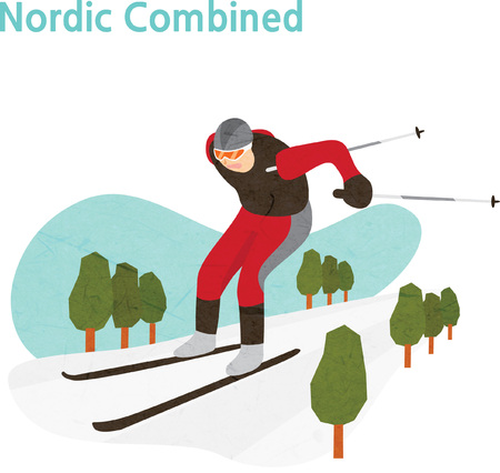 Young athlete during Nordic combined