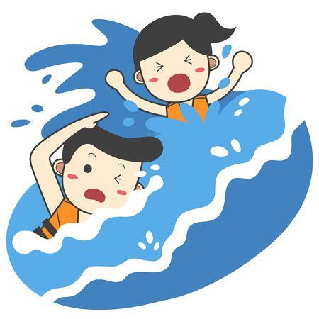 Lifeguard rescuing woman