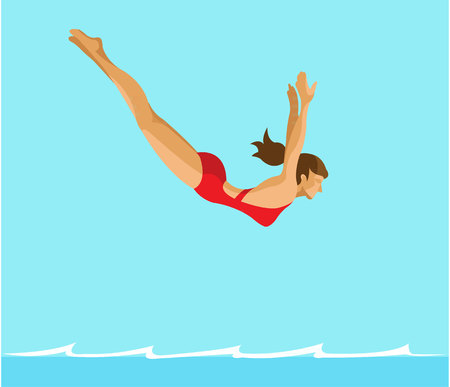Woman diving into a pool flat design Ilustrace