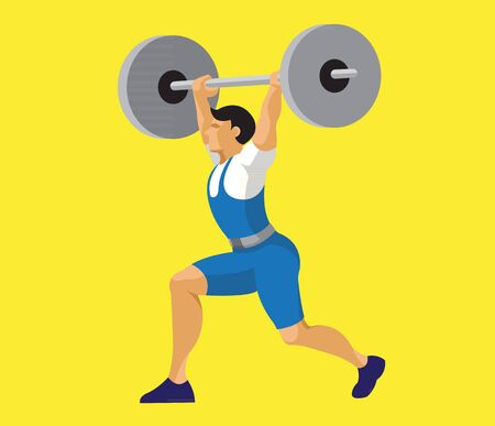 Man holding weight dumbbell flat design Vectores