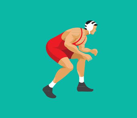 Man wrestling flat design